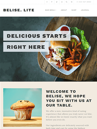 Belise Lite - Plantillas WordPress para Restaurantes